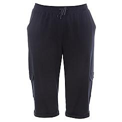 Evans - Navy long combat pocket shorts