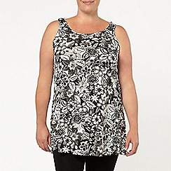 Evans - Black/white floral knot vest