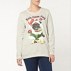 Evans - Grey bah hum pug christmas jumper