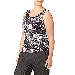 Evans - Black floral print activewear vest