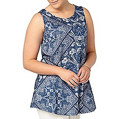 Evans - Blue paisley print sleeveless top