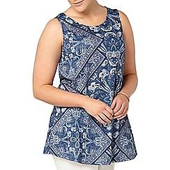 Evans - Blue paisley print sleeveless top