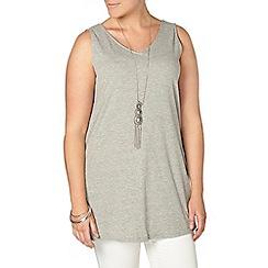 Evans - Grey sleeveless rib tunic