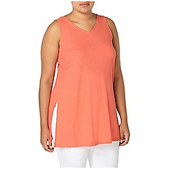 Evans - Coral orange rib sleeveless vest