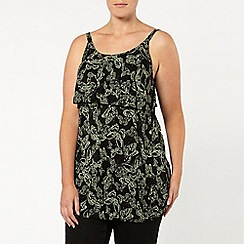 Evans - Khaki butterfly print cami top
