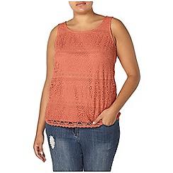 Evans - Orange lace sleeveless top