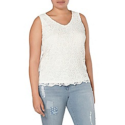 Evans - Ivory busty fit lace top