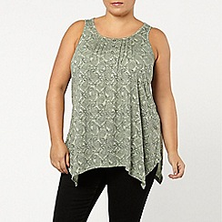 Evans - Green paisley pintuck top