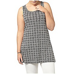 Evans - Black printed busty fit vest