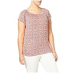 Evans - Red printed busty fit gypsy top