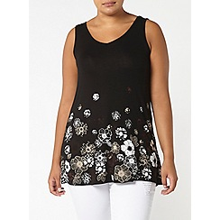 Evans - Black busty fit floral print top