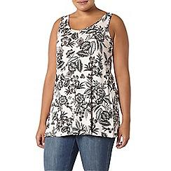Evans - Ivory floral print jersey vest
