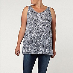 Evans - Ivory/blue tile print swing cami  top