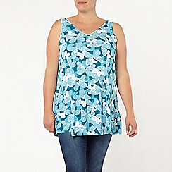 Evans - Green butterfly print swing cami top
