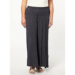 Evans - Navy spot print wide leg trousers