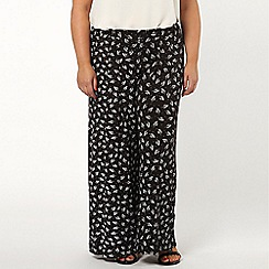 Evans - Black leaf print wide leg  trouser