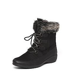 Evans - Black faux fur top biker ankle boots