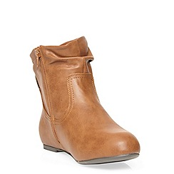 Evans - Extra wide fit tan tab ankle boot