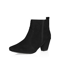 Evans - Black suedette square toe ankle boot