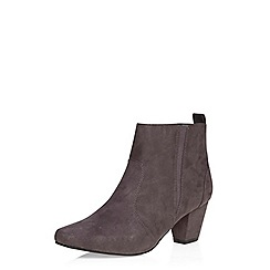 Evans - Grey suedette square toe ankle boot