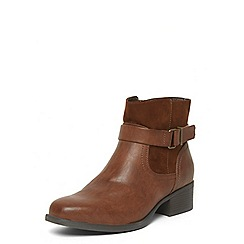Evans - Brown material mix square toe boots