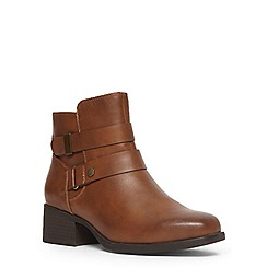 Evans - Extra wide fit tan square toe strap boot