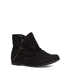 Evans - Extra wide fit black suedette zip ankle boot