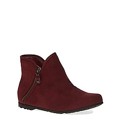 Evans - Berry suedette zip ankle boot