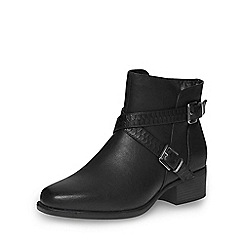 Evans - Black square toe ankle boot