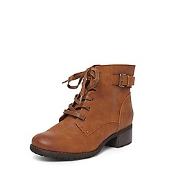 Evans - Extra wide fit tan lace up hiker boots