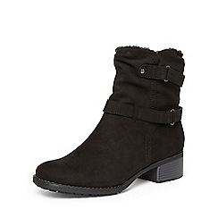 Evans - Black faux fur collar boots