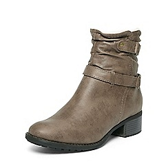 Evans - Extra wide fit grey faux fur collar boots