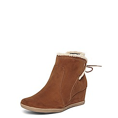 Evans - Extra wide fit brown borg trim wedge boots