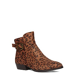 Evans - Extra wide fit leopard print pointed boot