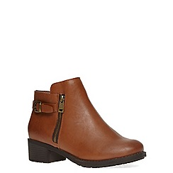 Evans - Extra wide fit tan side zip ankle boot