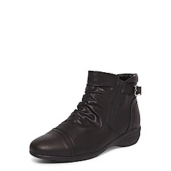 Evans - Extra wide fit black ruched wedge ankle boots