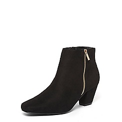 Evans - Extra wide fit black square toe dual zip ankle boots