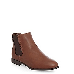 Evans - Evans extra wide fit brown scallop chelsea boots