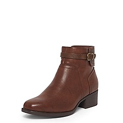 Evans - Extra wide fit brown buckle square toe boots