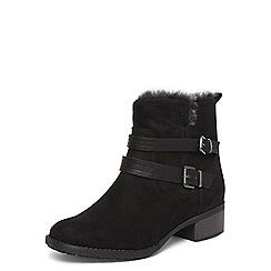 Evans - Extra wide fit black fur trim ankle boots