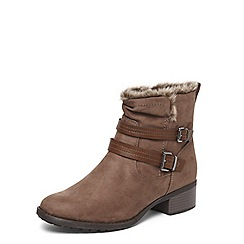 Evans - Extra wide fit brown fur trim round toe boots