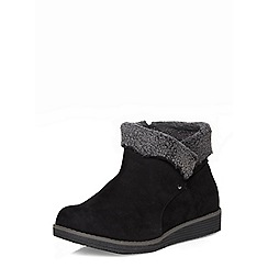 Evans - Evans extra wide fit black fur trimmed ankle boots