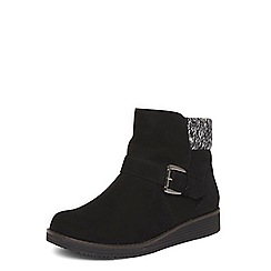 Evans - Extra wide fit black knit insert ankle boots