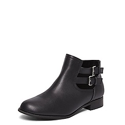 Evans - Extra wide fit black cut out buckle boots