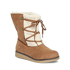 Evans - Brown lace up wedge boots