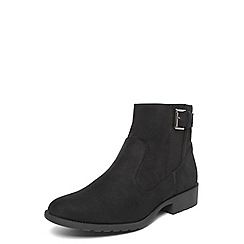 Evans - Extra wide fit black elastic buckle boots