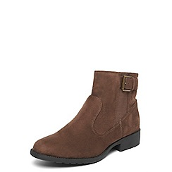 Evans - Extra wide fit brown elastic buckle boots