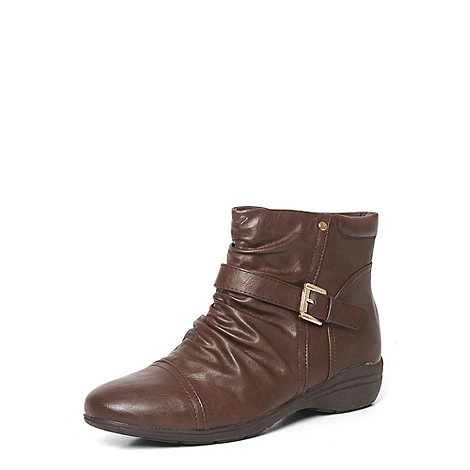 wide fit brown ruched low wedge boots debenhams