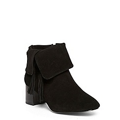 Evans - Extra wide fit black suede fold over tassel boots