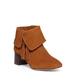 Evans - Extra wide fit tan suede fold over tassel boots